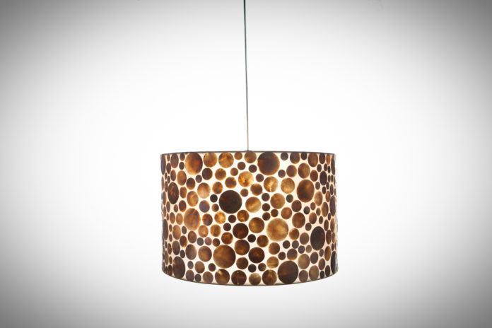 Hanglamp Coin gold cilinder 55cm